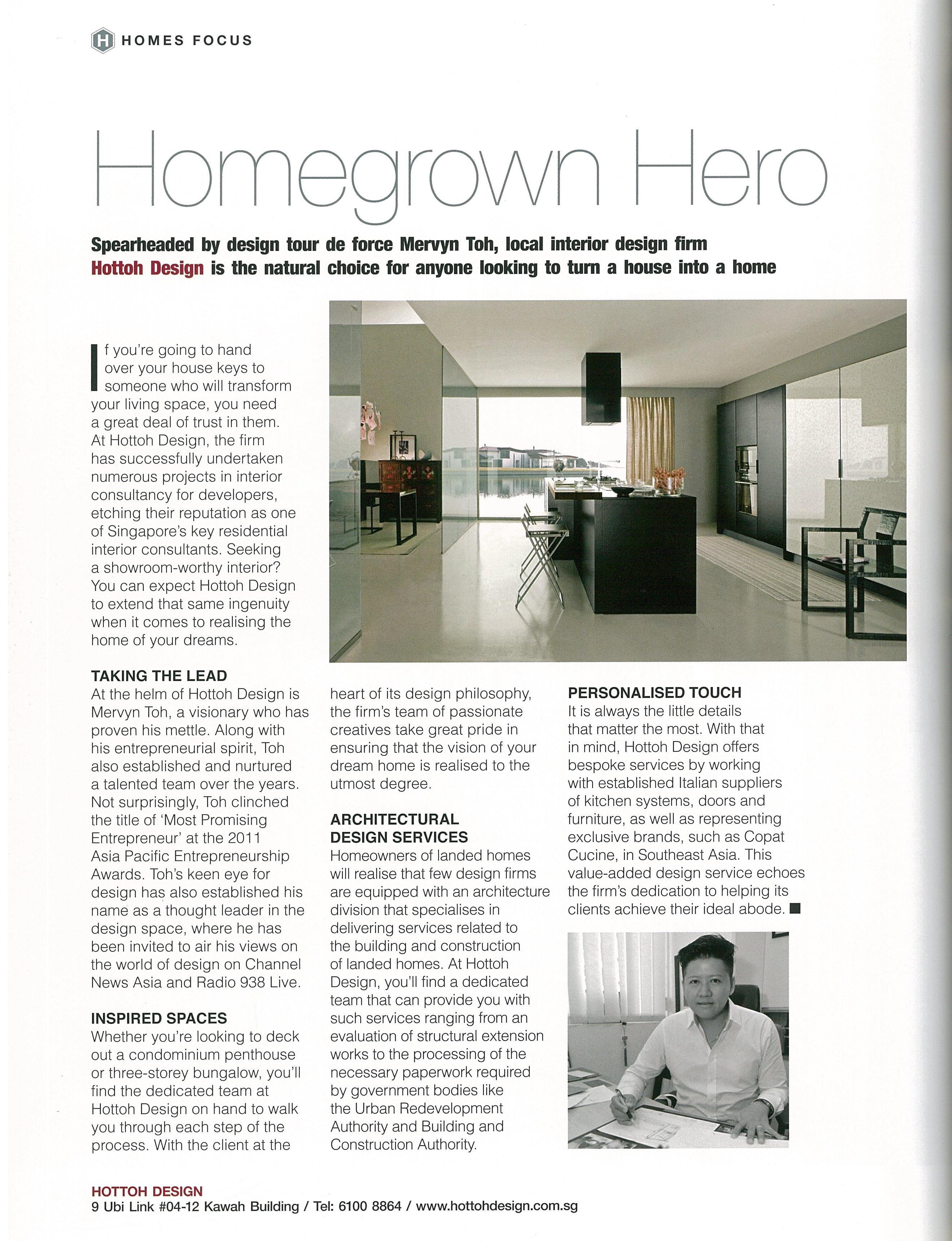 Interview Featured In Singapore Tatler Homes April May 2015