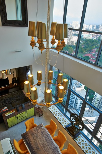 Asian Cosmopolitan Penthouse - View of the Dining & Den from the 2nd level
