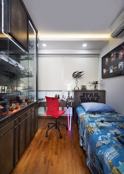 One Canberra - Boy's Room with Display Cabinets for Star Wars Collections
