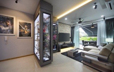 Canberra - Living Area with Display Cabinets of Star Wars collections