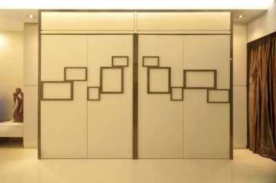 Yeo's Residence - Wall Feature with Photo Frames-cum-Storage compartments