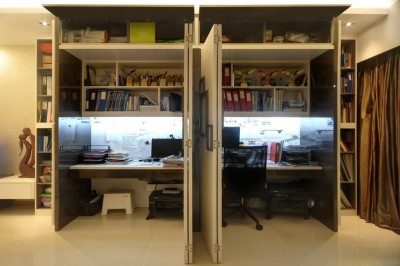 Yeo's Residence - Wall Feature opens to reveal hidden work desks